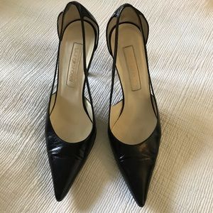 Sergio Rossi black leather with patent heel